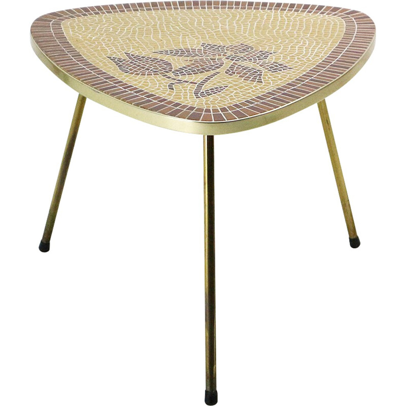 Mid-Century side table with brass base and tile top - 1950s