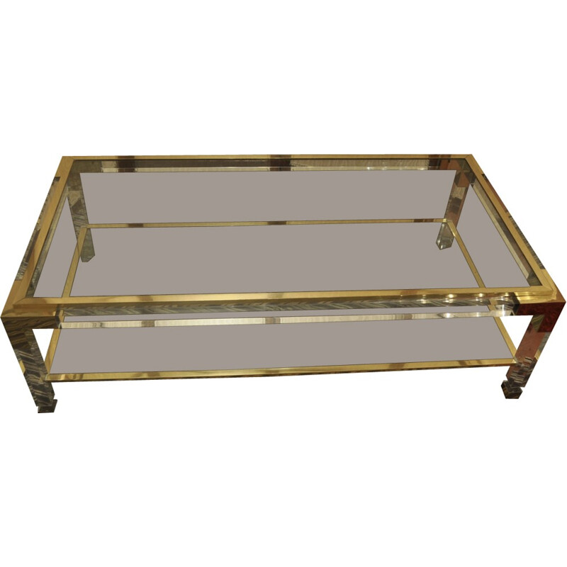 Altuglass and brass coffee table - 1970s