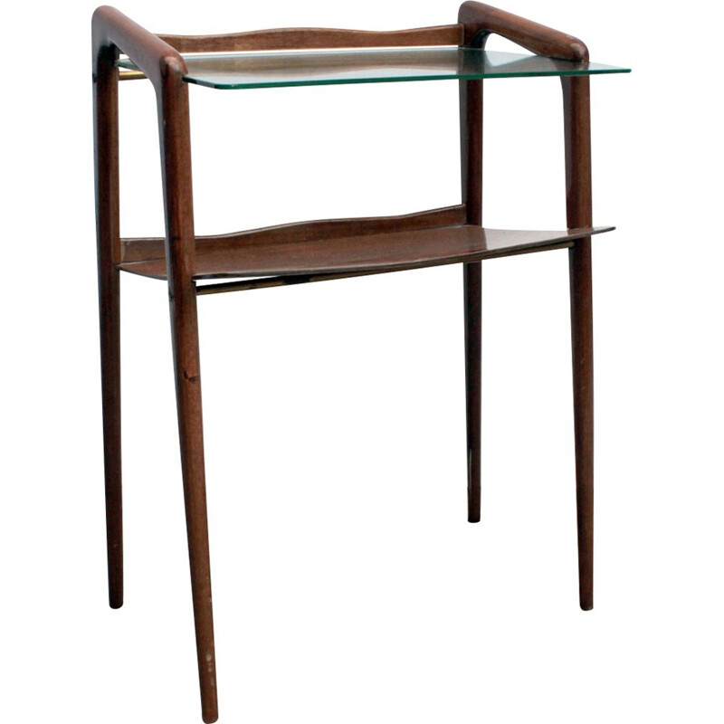 Side table with glass and wood - 1960s