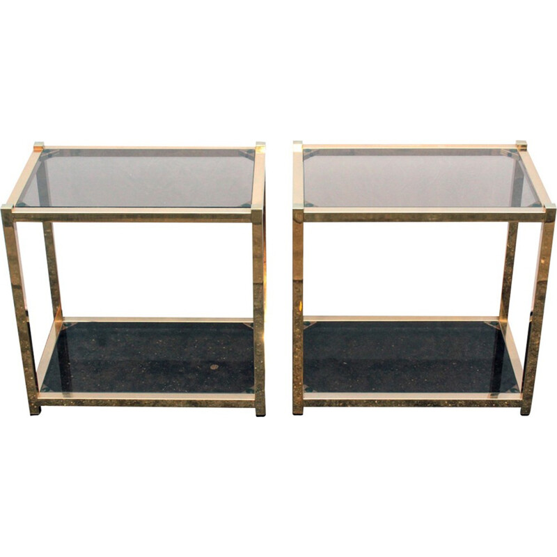 Pair of coffee tables made of gold metal - 1970s