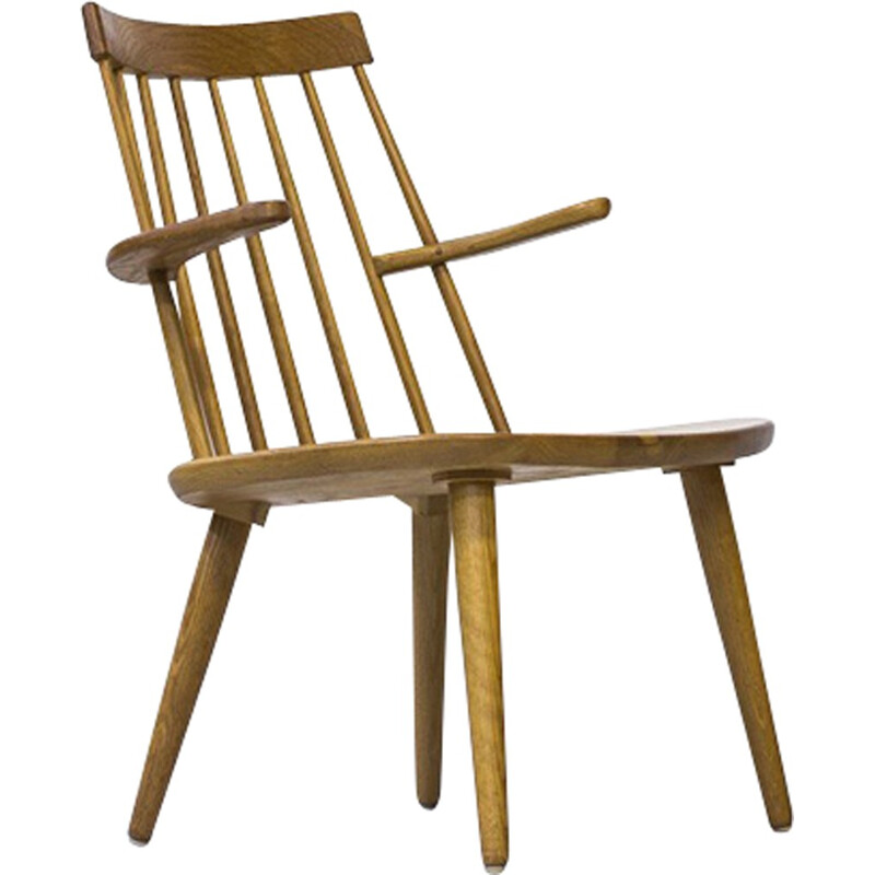 "Vintage Armchair ""Sibbo"" in Solid Oak by Yngve Ekström for Stolab - 1960s"