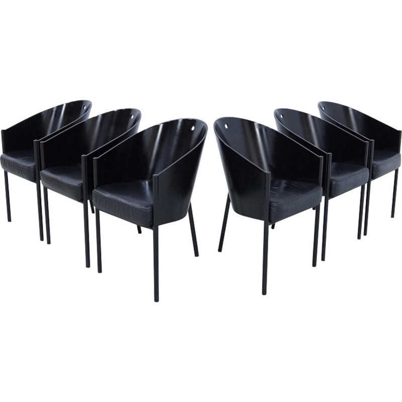 Set of 6 Black costes chairs by Philippe Starck for Driade - 1980s