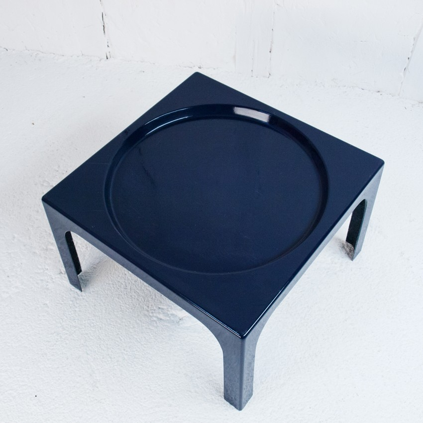 navy blue coffee table in fiber glass marc berthier 1970s design