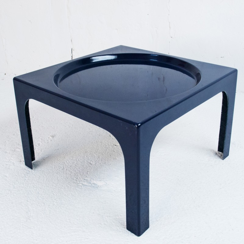 Navy blue coffee table in fiber glass Marc BERTHIER 1970s