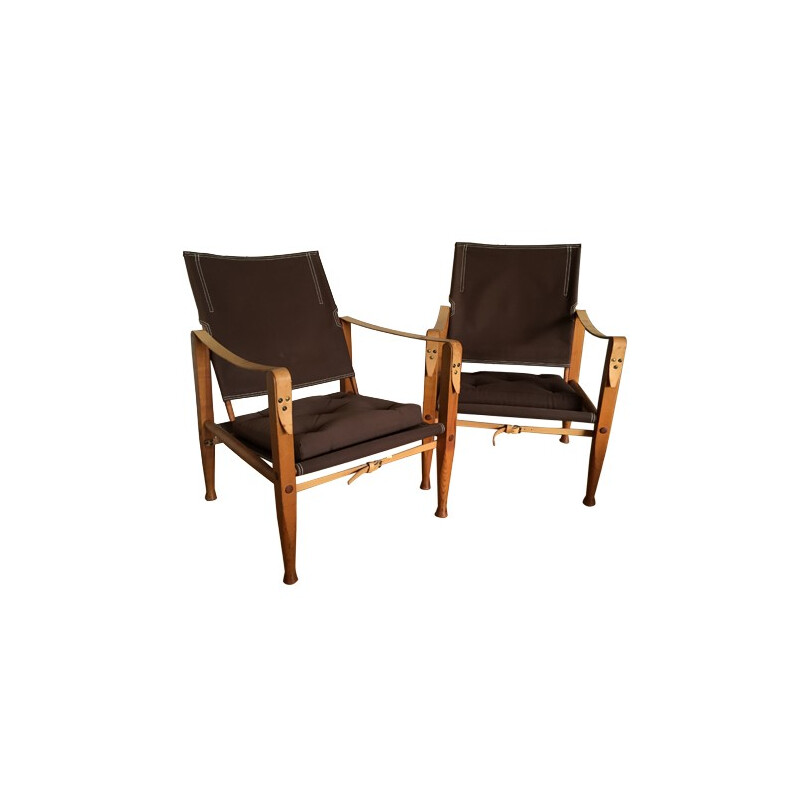 Pair of safari armchairs, Kaare KLINT - 1960s