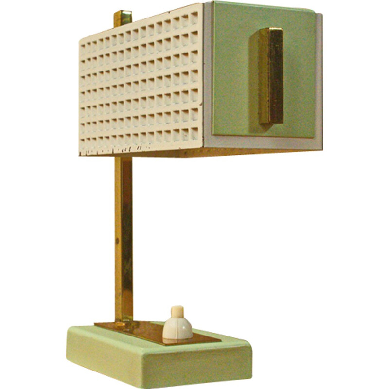 Cubic German table lamp in mint green with brass - 1950s