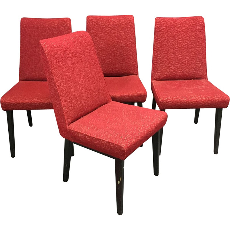 Suite of 4 chairs with compass legs - 1970s