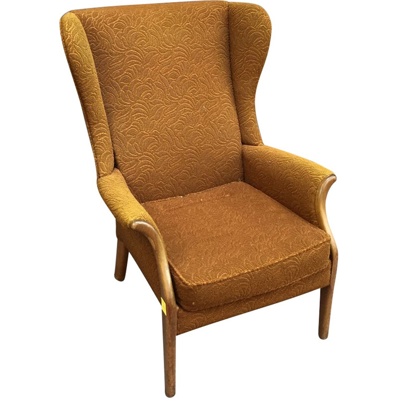 Vintage yellow wingchair - 1960s