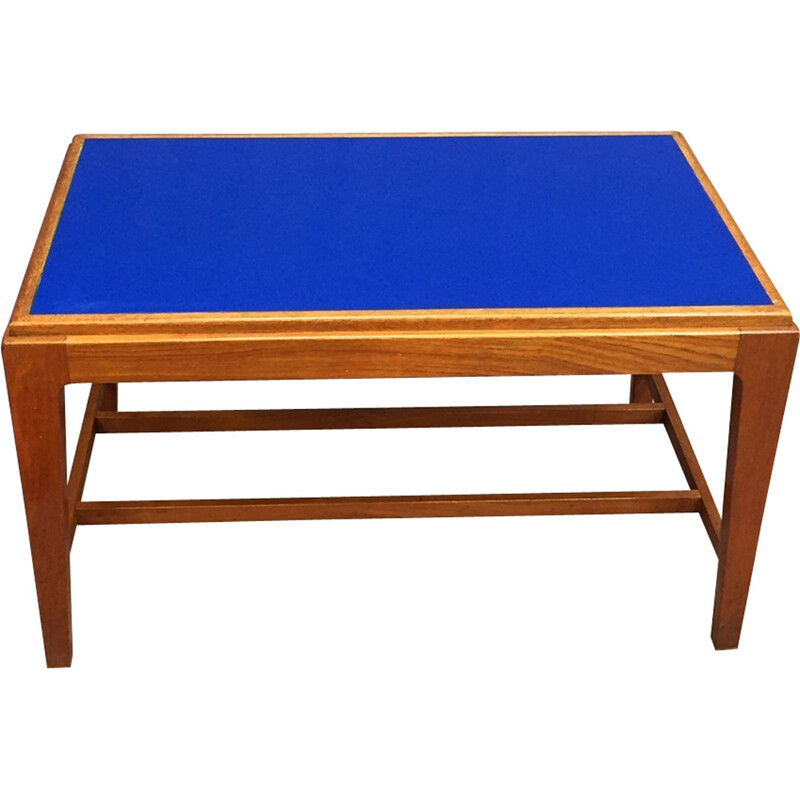 Coffee table made of teak and blue glass top - 1970