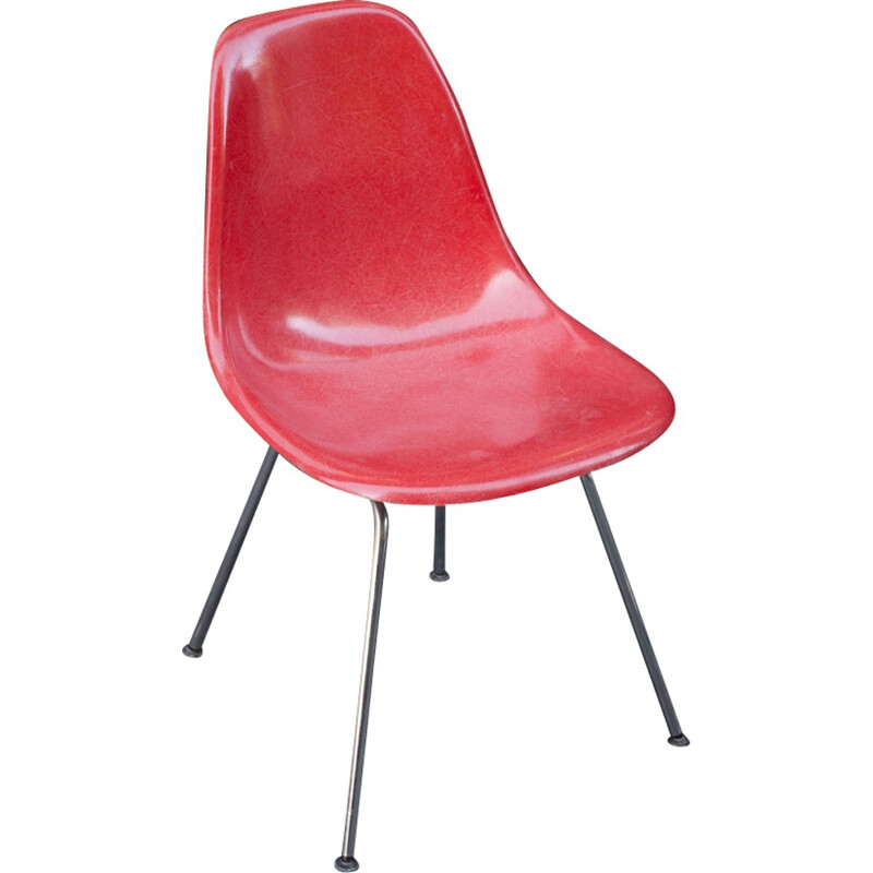 """Vintage Coral-Colored """"Dsx"""" Chair by Eames for Herman Miller - 1950s"""