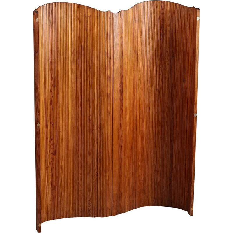 Vintage french curved wood screen by Baumann - 1950s