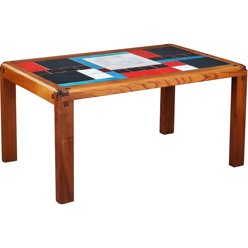 Coffee table in solid elm and ceramic tiles by Pierre Chapo - 1960s