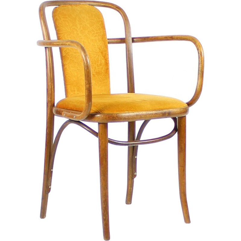 Pair of Bentwood Chairs in Original Gold Velvet Upholstery - 1940s