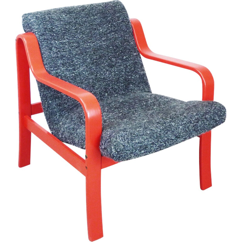 Vintage armchair in red painted wood and grey wool - 1980s