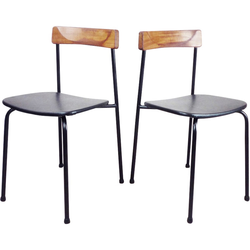Pair of industrial chairs in wood and metal - 1970s