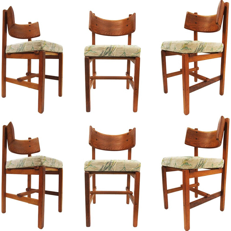 Set of 6 vintage Brutalist Sculpted Dining Chairs by Simon Packo - 1950s