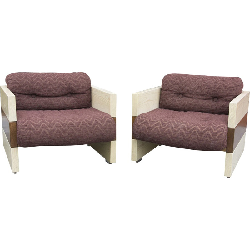 Pair of Italian Armchairs by Albert Leclerc - 1970s