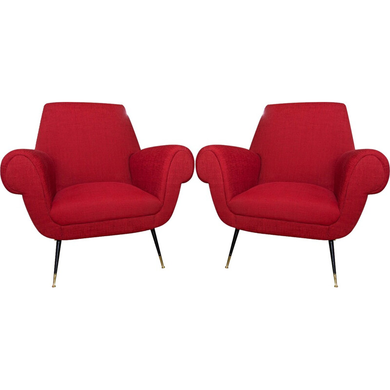 Pair of Mid-Century Italian Armchairs by Gigi Radice for Minotti - 1960s