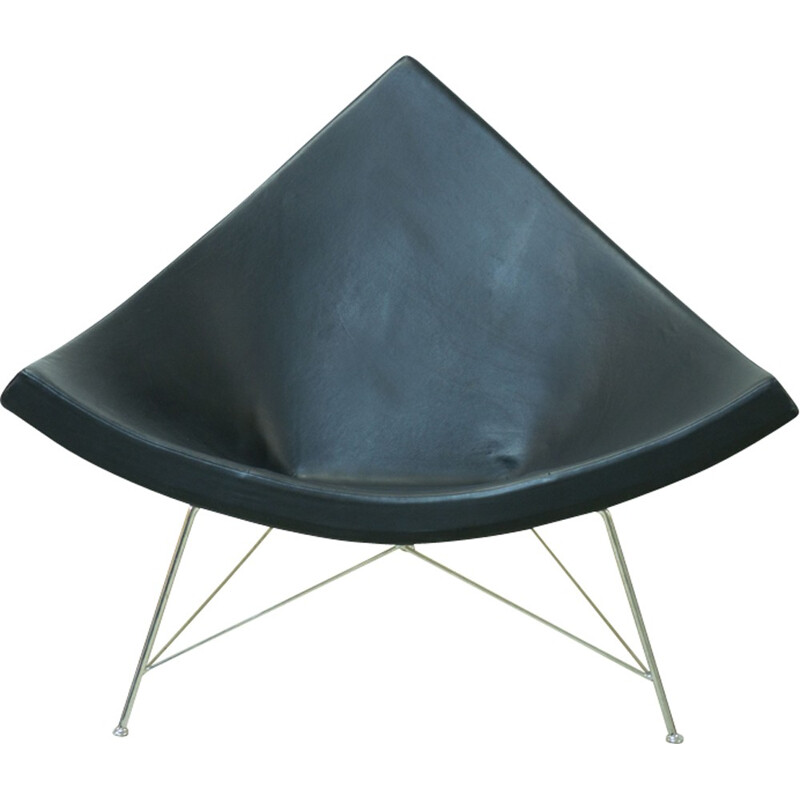 """Coconut"" black leather armchair by George Nelson for Vitra - 1990s"