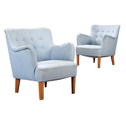 Pair of armchairs in beechwood and fabric, Peter HVIDT - 1950s