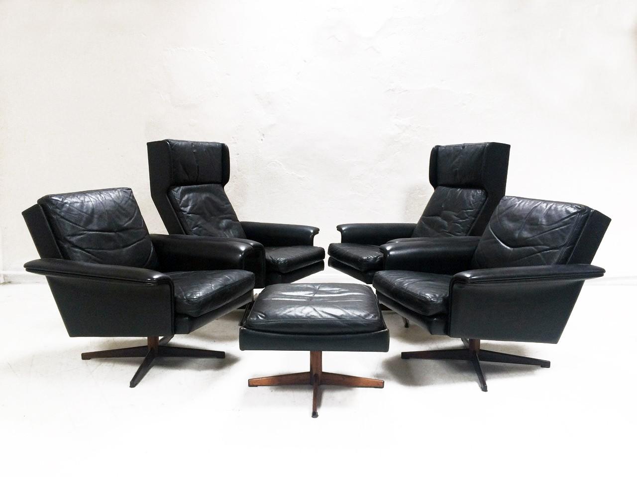 Living room set in black leather by HW Klein for Komfort - 1960s ...
