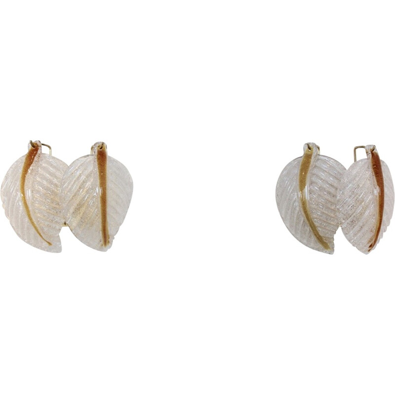Set of 2 Murano Glass Leaves Wall Lights by A.V. Mazzega - 1970s