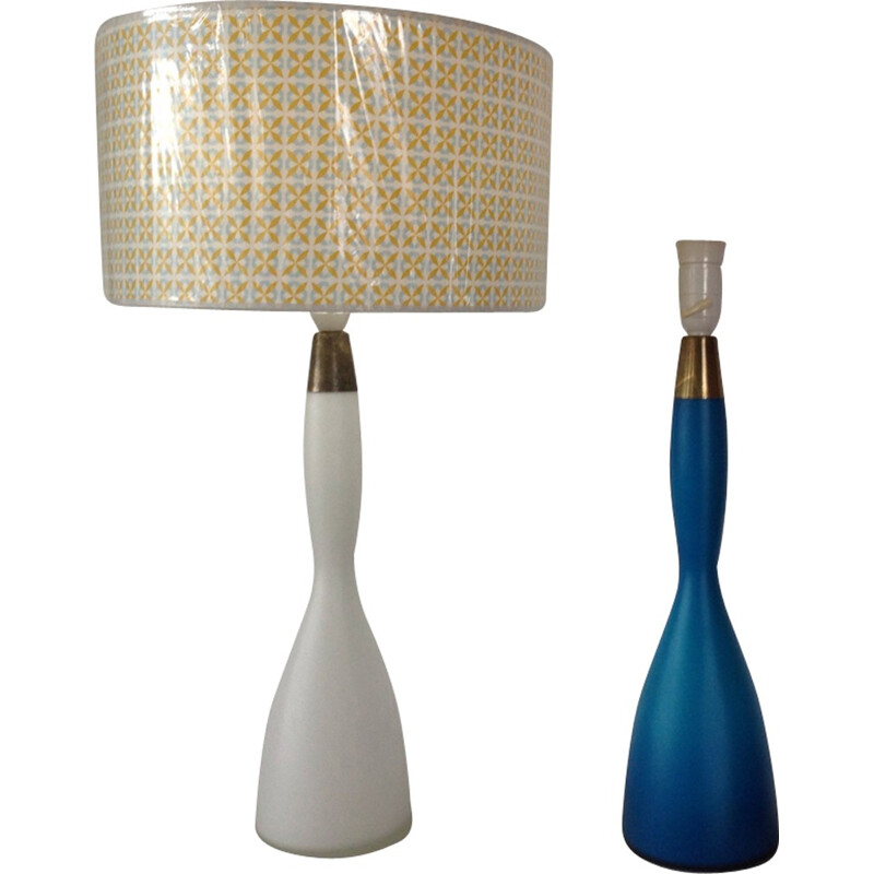 Pair of opaline lamps by Jacob Bang for Kastrup - 1960s