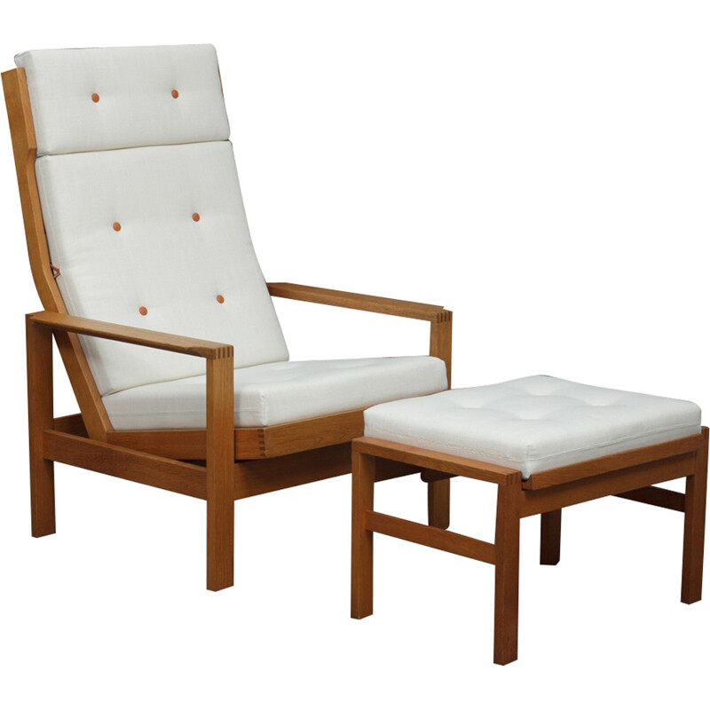 Reclining easy chair wth footstool by Borge Mogensen - 1960s
