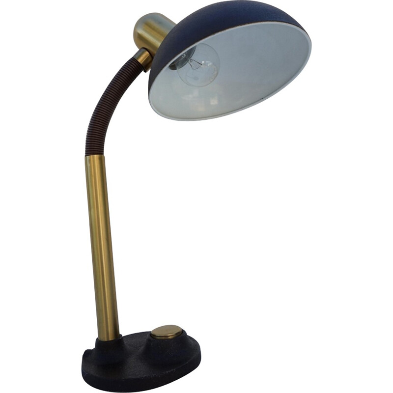 Mid-Century Metal & Brass Desk Lamp from Hillebrand - 1970s