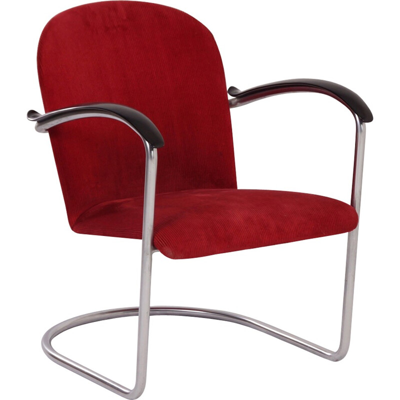 Gispen 414 Red Rib Fabric Armchair by W.H. Gispen - 1935