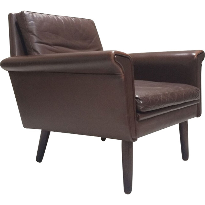 Vintage Danish Brown Leather Armchair - 1960s
