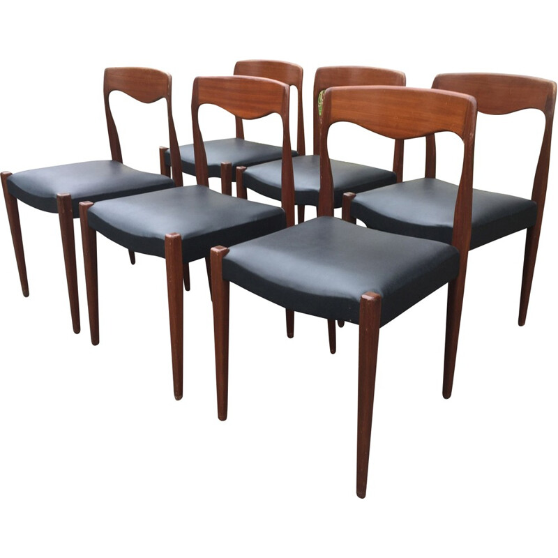 Set of 6 Vintage Chairs by Niels o Moller - 1960s