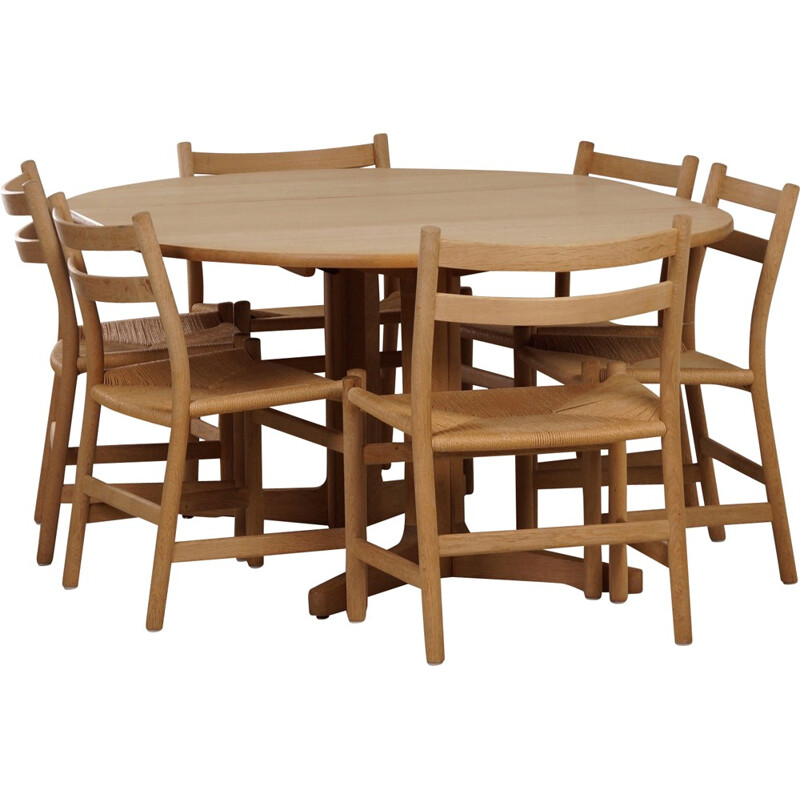 Oak Dining Set with CH47 Hans Wegner Dining Chairs and Møller Table - 1960s