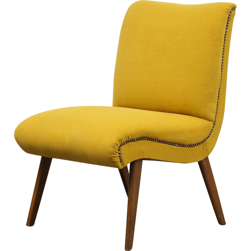 Vintage yellow armchair in wood - 1950s