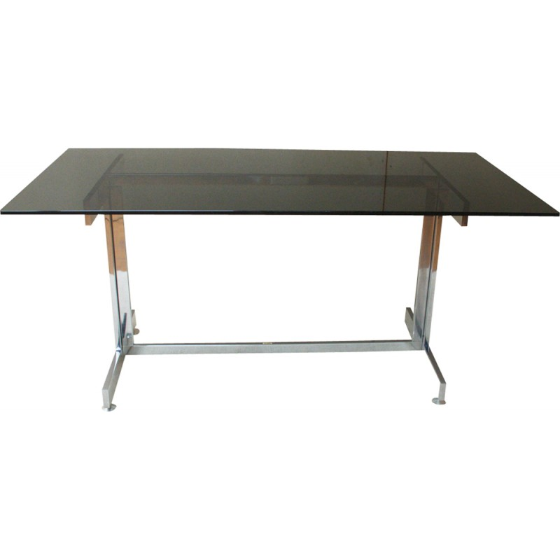 Italian Glass Desk With Smoked Plate And Chrome 1970s