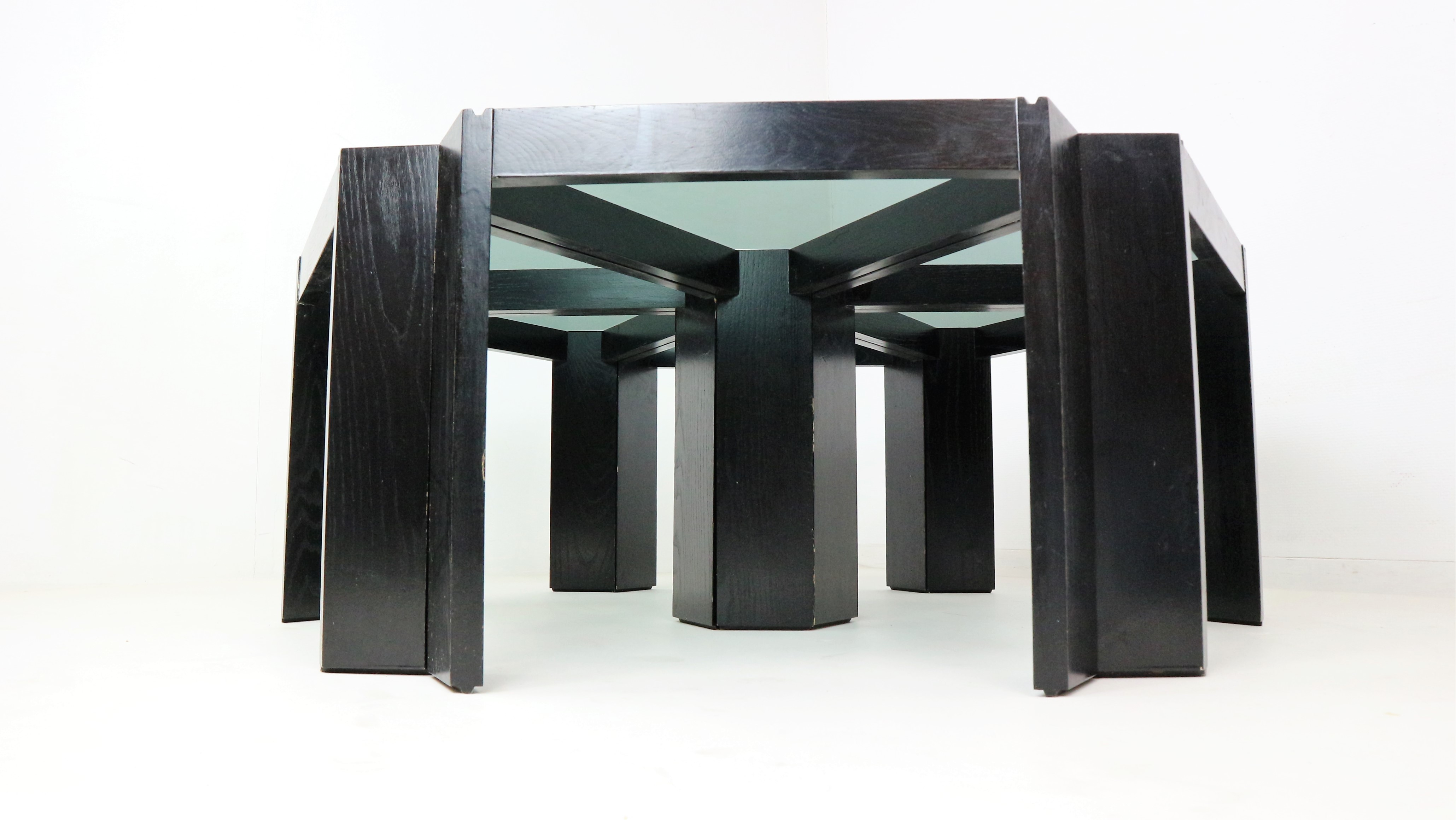 Set Of Six Geometric Stackable Nesting Tables By Porada