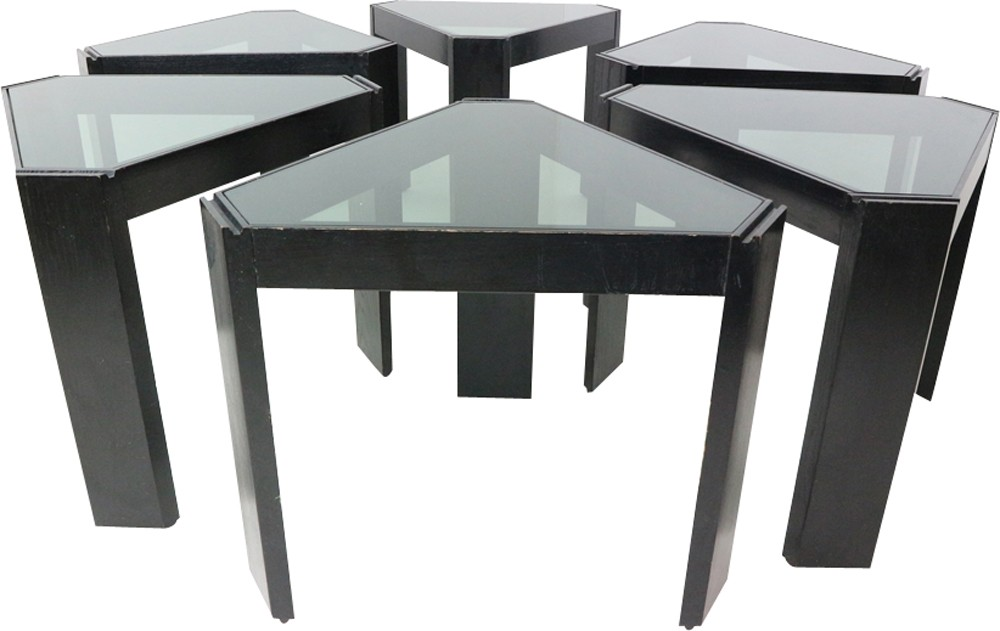 Set of six geometric stackable nesting tables by porada for Porada arredi