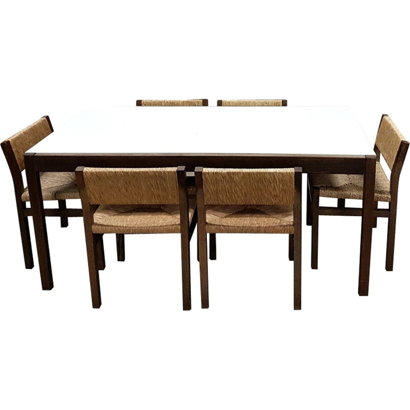 Dining table by Cees Braakman with 7 chairs by Martin Visser - 1970s