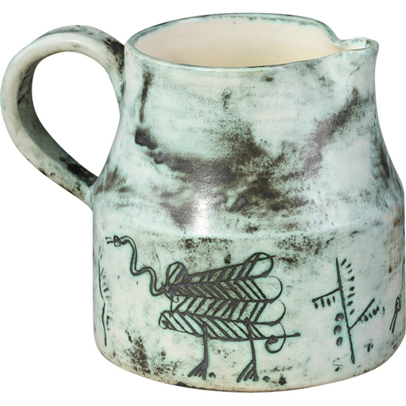 Ceramic jug with animal incised decoration by J. Blin - 1960s
