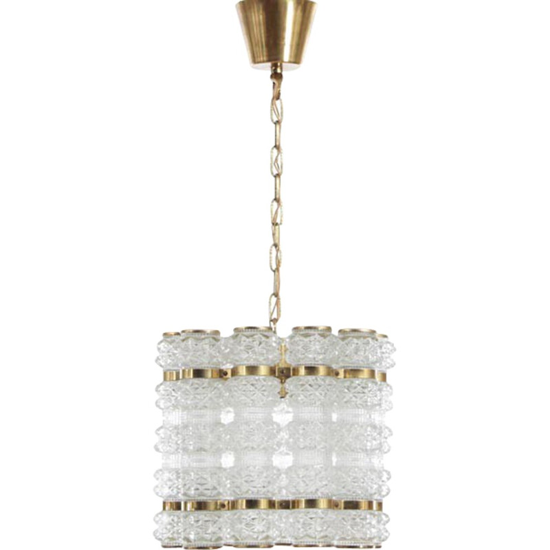 Vintage Scandinavian pendant lamp in crystal by Carl Fagerlund - 1960s