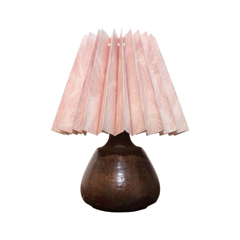 Brown ceramics table lamp by Einar Johansen produced by Soholm Stentoj - 1960s