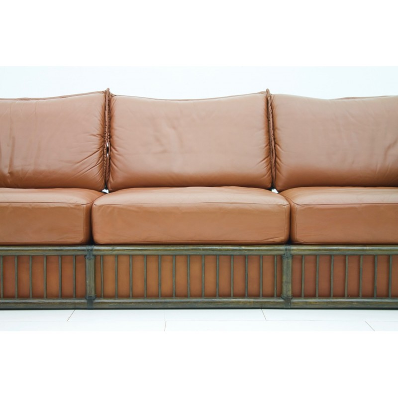 3 Seater Leather Sofa With Rattan For Rolf Benz 1970s Design Market