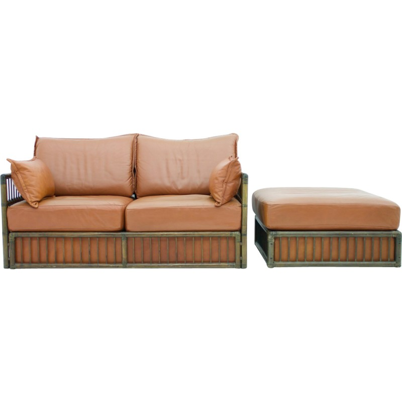 rolf benz furniture. 3 Seater Leather Sofa With Rattan For Rolf Benz - 1970s Furniture