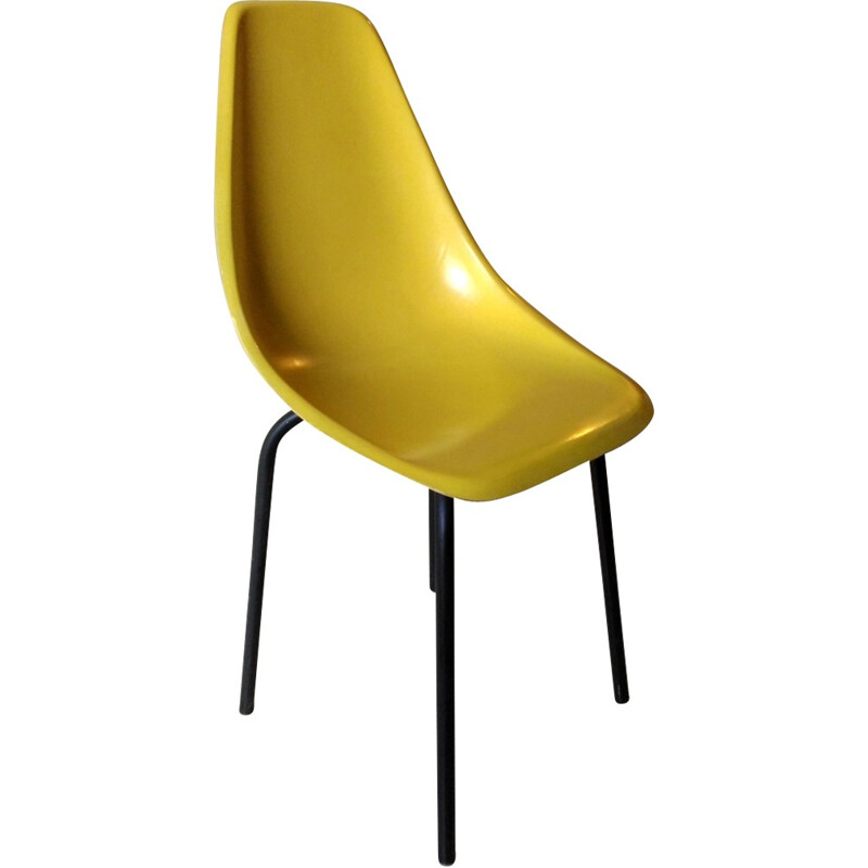 Chair in yellow fiberglass by Alain Richard - 1950s