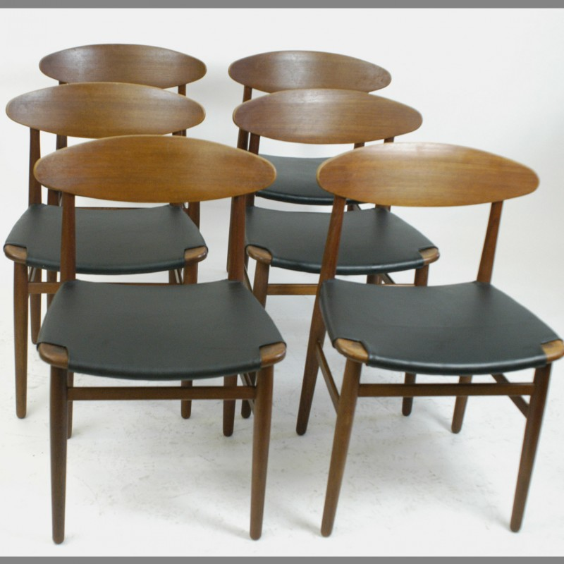 Set Of 6 Danish Teak Dining Chairs By Peter Hvidt 1950s