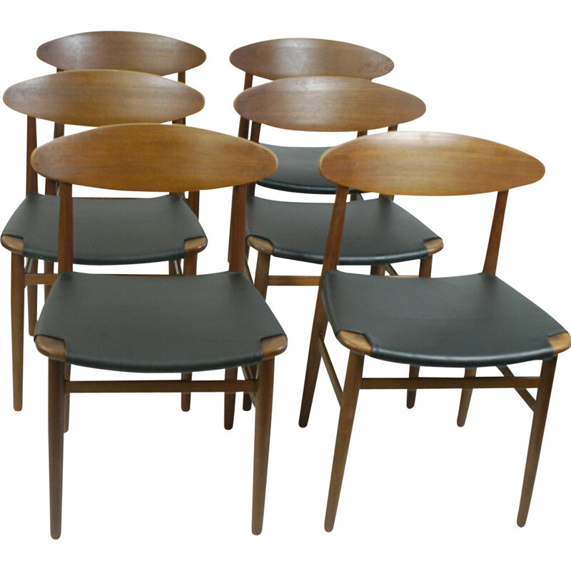 Set of 6 Danish teak dining Chairs by Peter Hvidt - 1950s