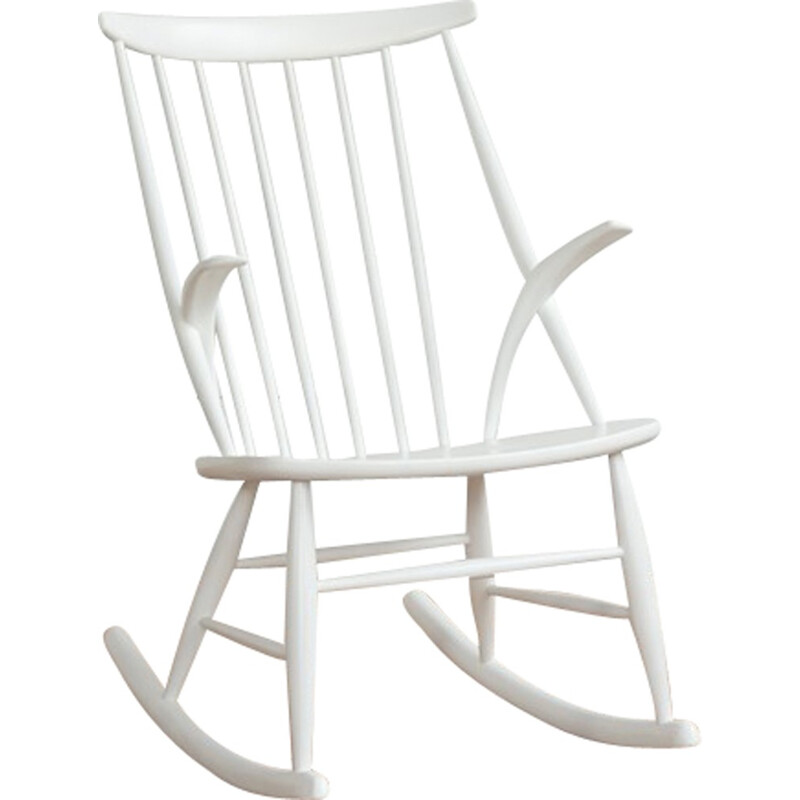 White rocking chair by Illum Wikkelsø for Niels Eilersen - 1950s