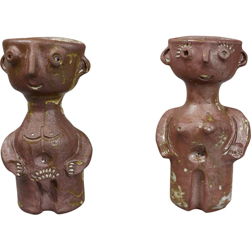 Pair of vintage ceramic sculptures by Jacques Pouchain - 1970s