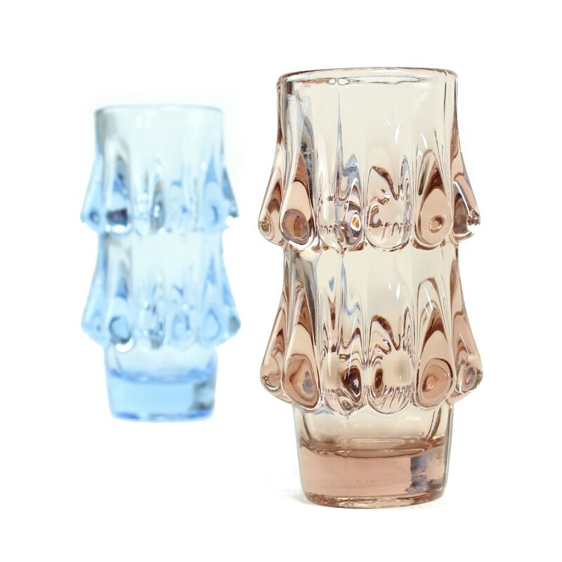 Pink and Blue Art Glass Vases by Jiri Brabec for Sklo Union Rosice - 1970s
