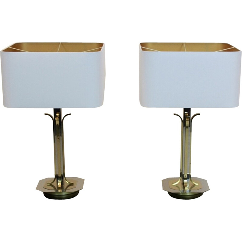 Pair of vintage Belgian Brass and chrome Table Lamps - 1970s